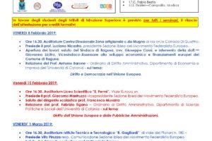 Seminari informativo-formativi sui Trattati dell'UNIONE EUROPEA a cura della SEZIONE IBLEA DEL MOVIMENTO FEDERALISTA EUROPEO